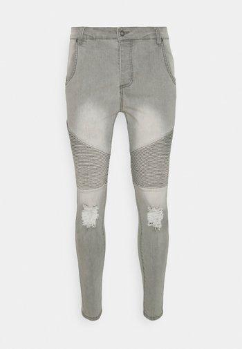 DISTRESSED BIKER  - Jeans Skinny Fit - washed grey
