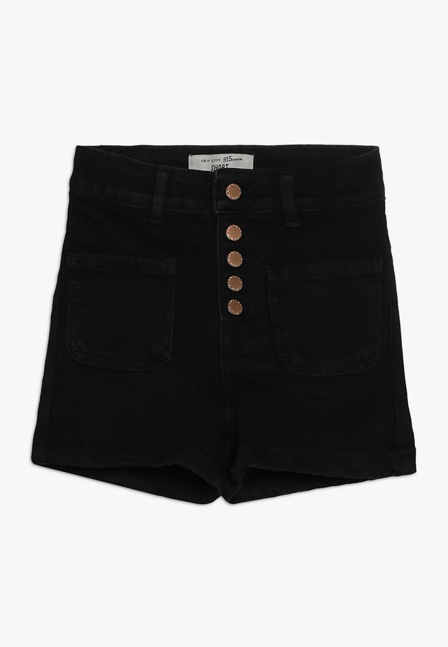 BEN PLACKET DENIM SHORT - Denim shorts - black