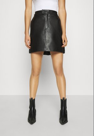 OBJPRIA SKIRT  - Leather skirt - black