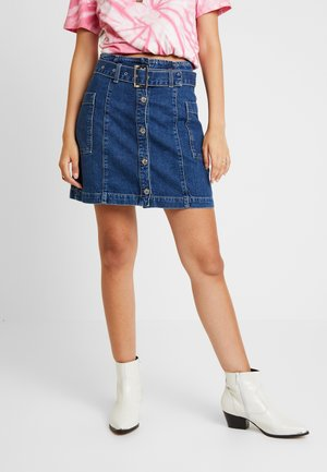 BUTTON BELT SKIRT - A-line skirt - blue denim