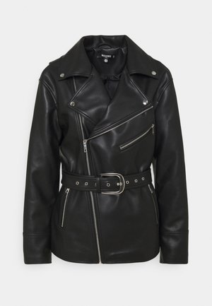 BELTED WAIST BIKER - Halflange jas - black