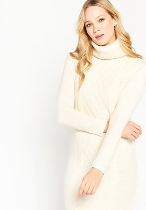CABLE TURTLE NECK - Shift dress - taupe