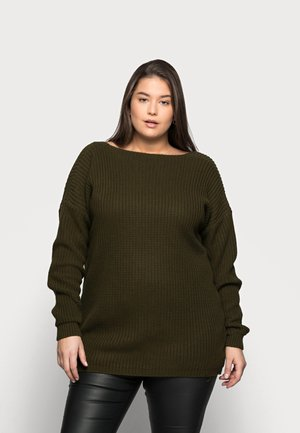 BACK VNECK  - Jumper - khaki