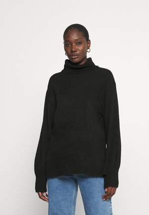 Long line turtle neck - Strikkegenser - black
