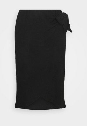 TEXTURED WRAP SKIRT - Pencil skirt - black