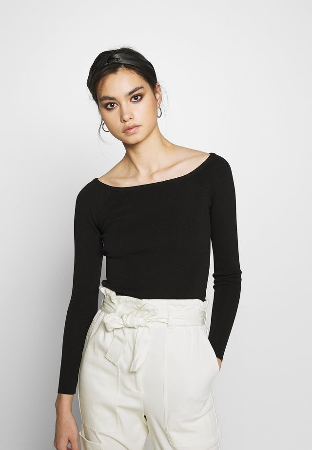 THE LONG SLEEVE OFF THE SHOULDER - Jumper - black