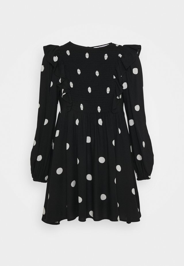 SPOT FRILL SMOCK - Day dress - black