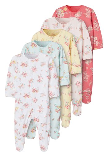 PINK 5 PACK DITSY FLORAL SLEEPSUITS (0MTHS-2YRS)