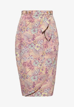 MIT HAWAIIANISCHEM  - Wrap skirt - coral
