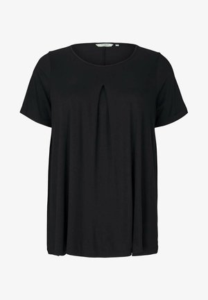 WITH PLEAT AT FRONT - Basic T-shirt - deep black