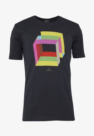 MENS REG FIT CUBES - T-shirt imprimé - navy