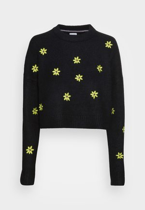 FLORAL CRITTER SWEATER - Pullover - black