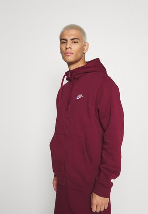 CLUB HOODIE - Mikina na zip - dark beetroot/white