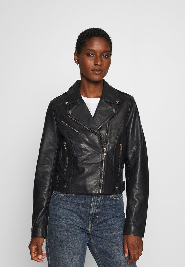 CHICAGO - Leather jacket - bleu marine
