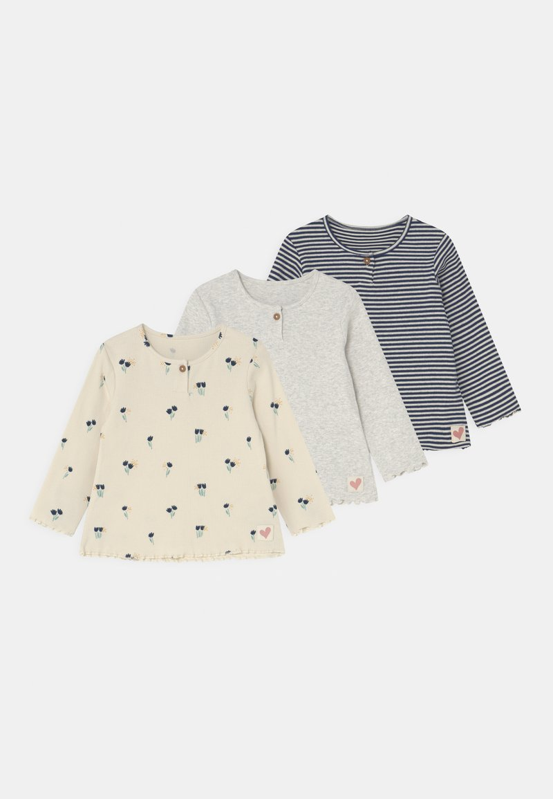 Marks & Spencer London - BABY FLORAL 3 PACK - Long sleeved top - cream