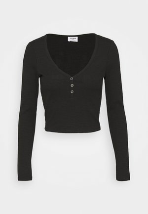 LINCOLN HENLEY LONG SLEEVE - Langærmede T-shirts - black