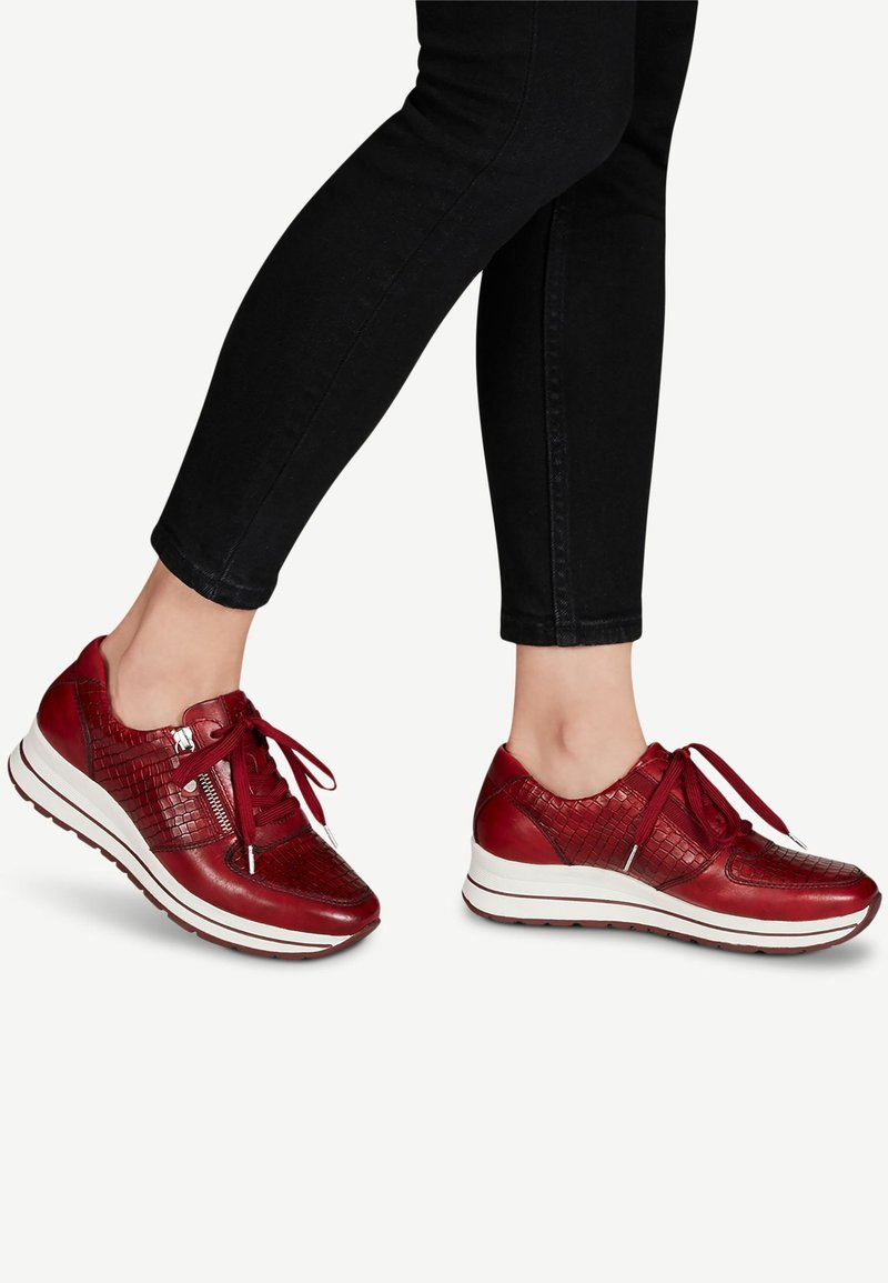 Tamaris Pure Relax - LACE UP - Trainers - scarlet/croco