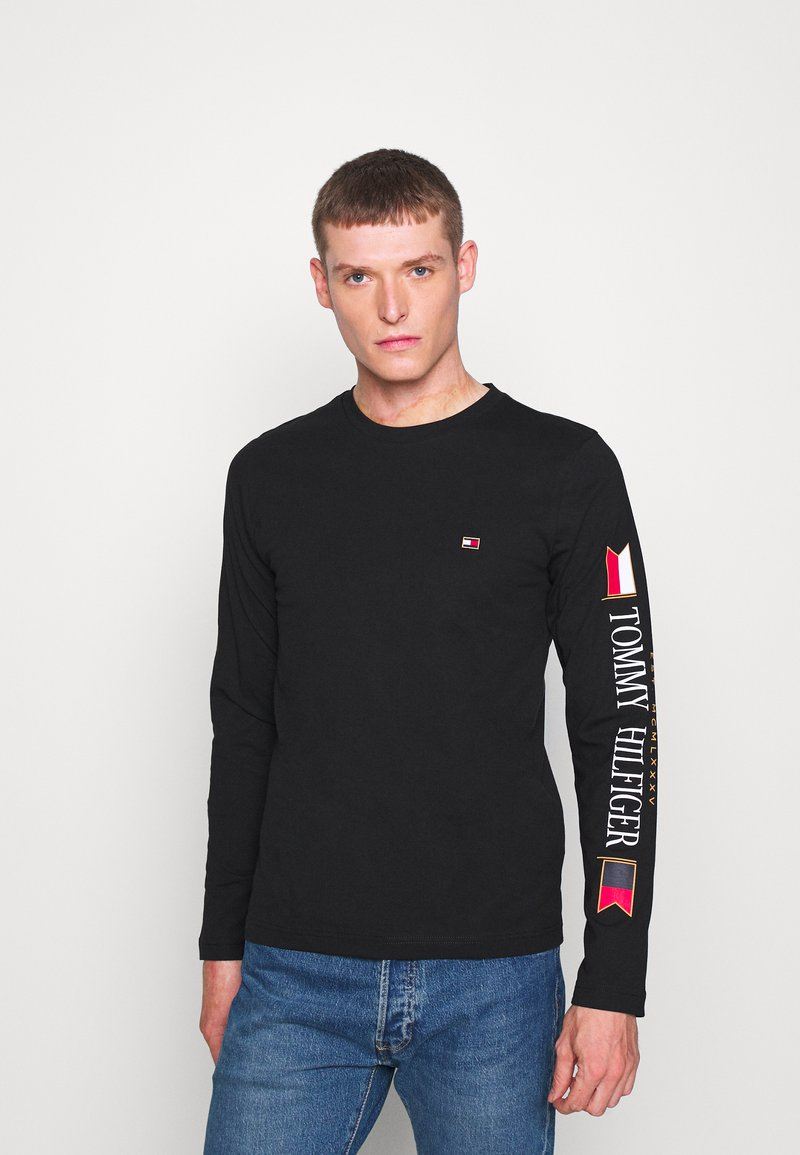 Tommy Hilfiger - MIRRORED FLAGS LONG SLEEVE  - Long sleeved top - black