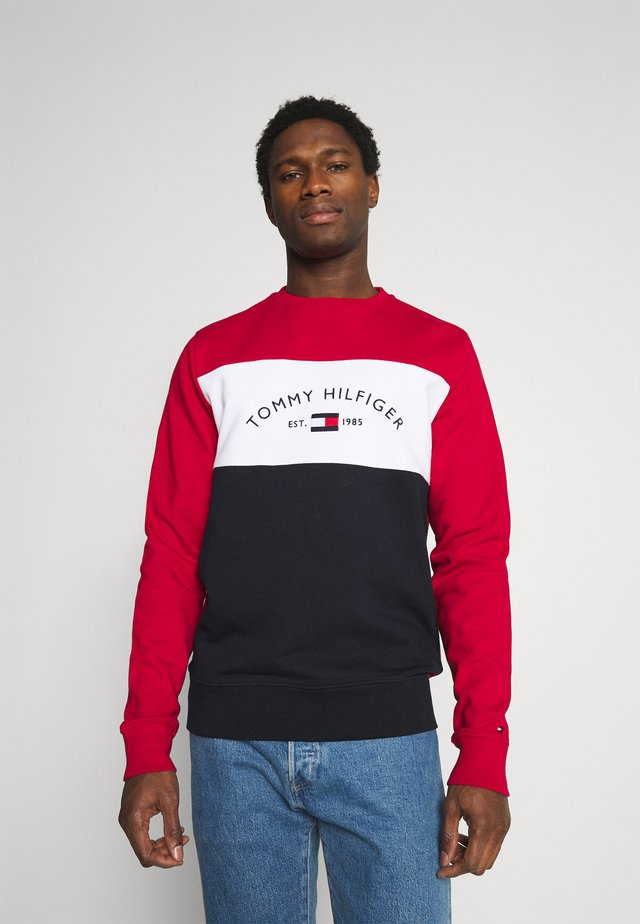 EMBROIDERED SIGNATURE CREWNECK - Sweatshirt - red/multi