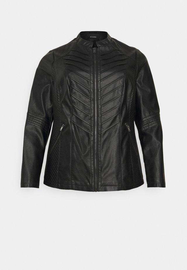 JACKET - Imitatieleren jas - black