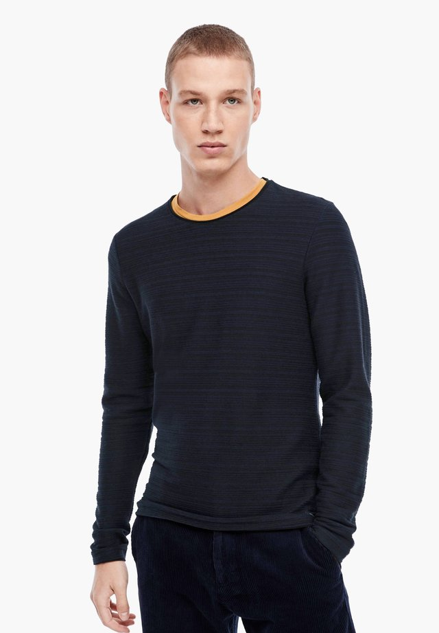 MIT FEINEN STREIFEN - Long sleeved top - dark blue melange