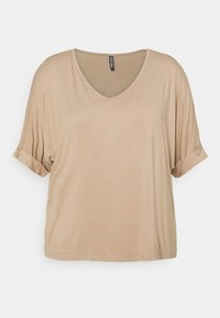 Pieces Curve - PCNEORA FOLD UP - T-shirts - warm taupe - 0