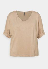 PCNEORA FOLD UP - Basic T-shirt - warm taupe