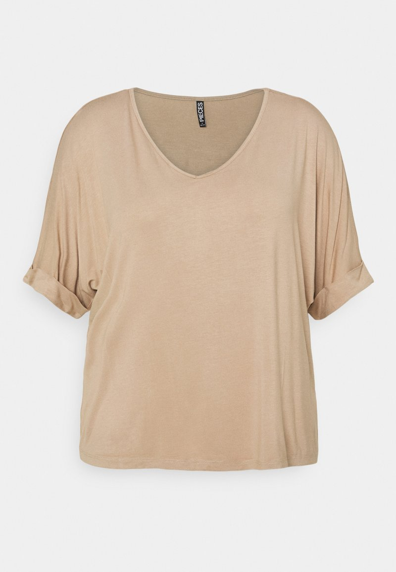 Pieces Curve - PCNEORA FOLD UP - T-shirts - warm taupe