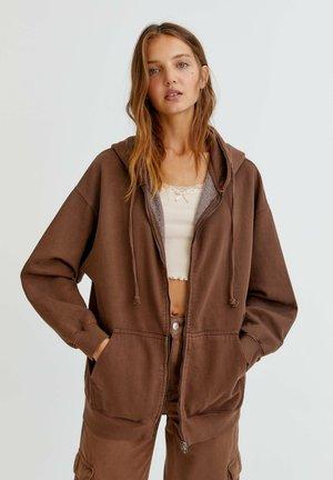 MIT KAPUZE - Zip-up sweatshirt - mottled brown