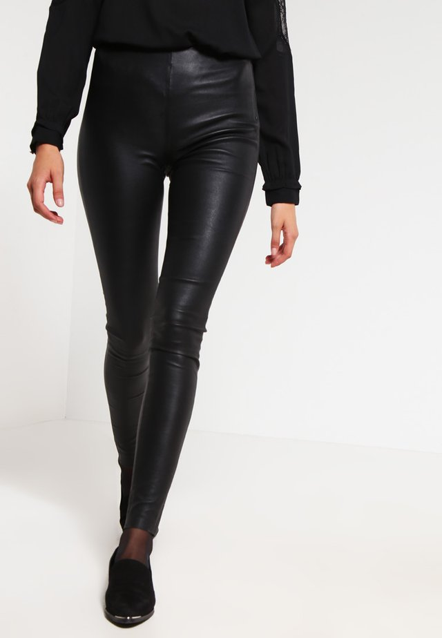 SFSYLVIA - Leather trousers - black