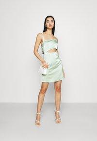 Missguided - ONE SHOULDER STRAPPY CUT OUT MINI DRESS - Cocktailkleid/festliches Kleid - sage - 1