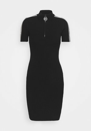 HALF ZIP LOGO TAPE DRESS - Pletené šaty - black