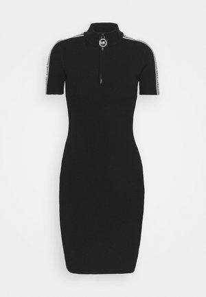 HALF ZIP LOGO TAPE DRESS - Jumper dress - black