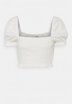 MAYA SMOCK BODY WITH PUFF SHORT SLEEVES SQUARE NECKLINE - Camiseta estampada - cream
