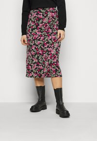 Simply Be - FLORAL MIDI SKIRT - A-line skirt - black - 0