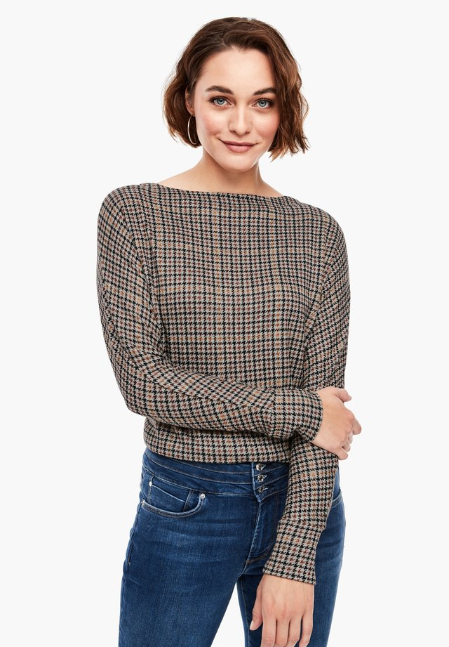 Long sleeved top - grey aop checks
