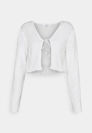 FRILL HEM TIE CARDIGAN - Cardigan - white