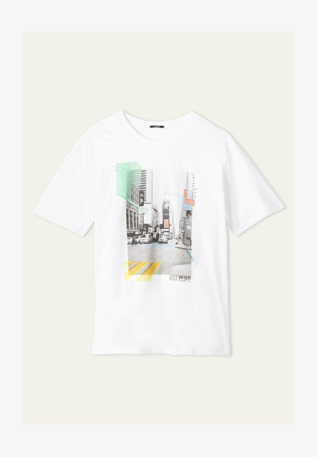 Print T-shirt - bianco st.city life