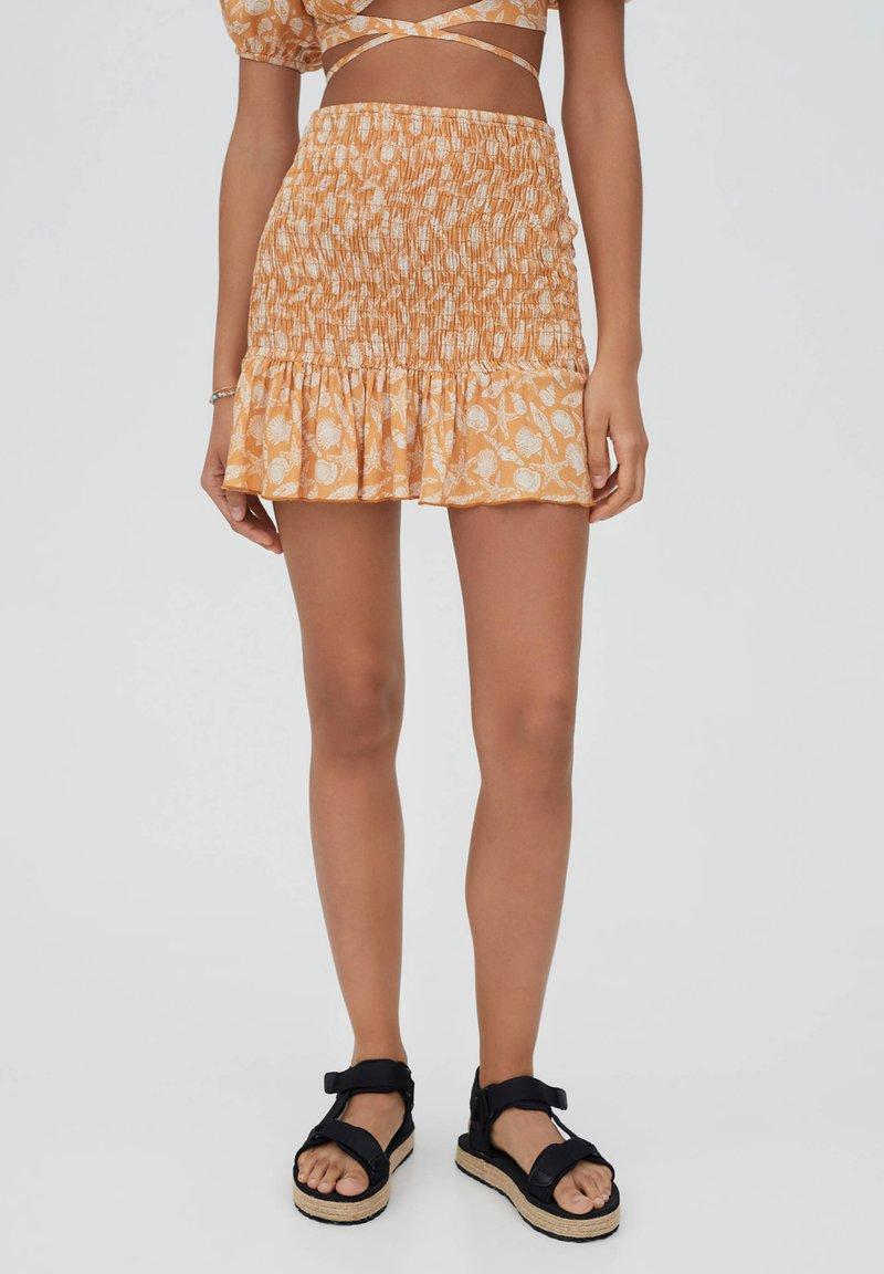 PULL&BEAR - Áčková sukně - orange