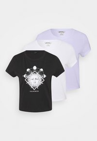 T-shirt print - black dark sun-black/white solid/purple sunandwave