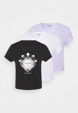 TEE 3 PACK - Camiseta estampada - black dark sun-black/white solid/purple sunandwave