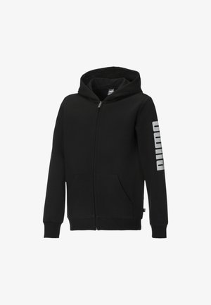 Zip-up hoodie -  black- white