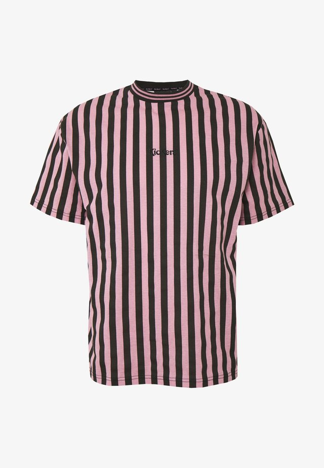 VERTICAL STRIPE TEE - Print T-shirt - pink/black
