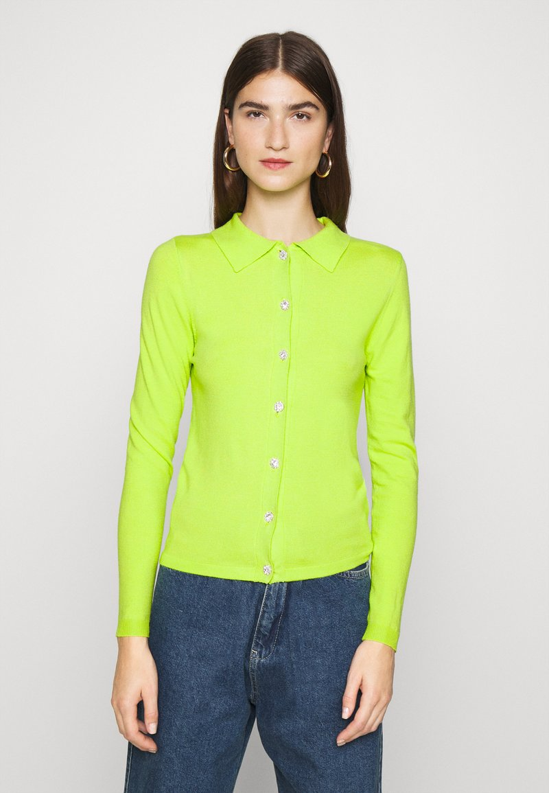 Who What Wear - COLLARED CARDIGAN - Cardigan - acid lime