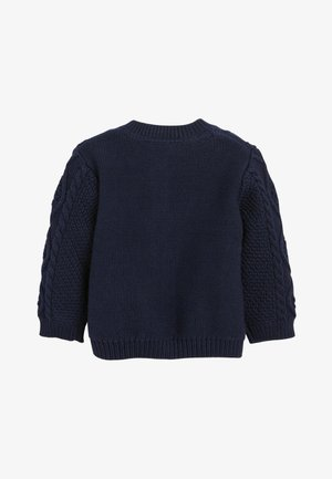 NAVY CABLE KNIT CARDIGAN (0MTHS-3YRS) - Cardigan - blue