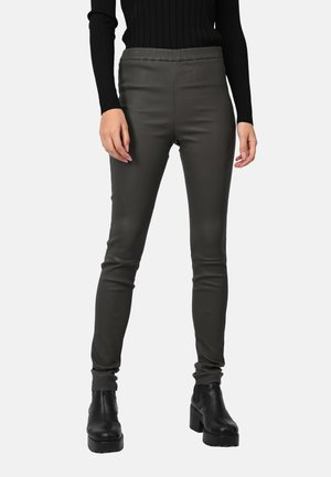 CASSIOPEE - Leather trousers - dark green