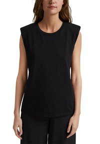 Esprit Collection - PADDED TEE - Basic T-shirt - black - 7