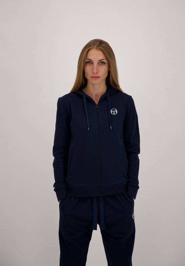 Zip-up hoodie - nav/wht