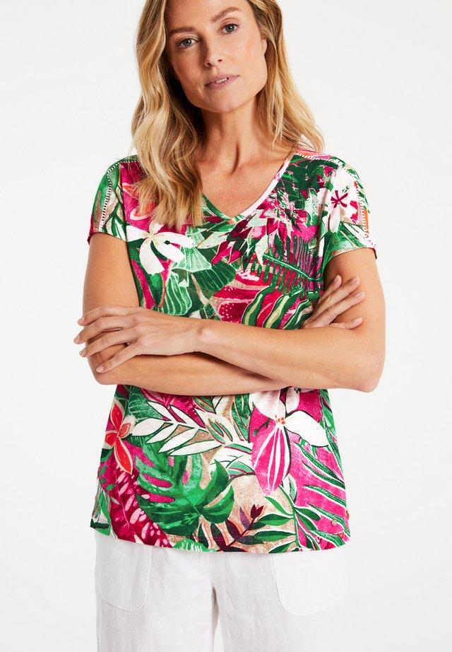 T-shirt print - lila/pink/grün druck