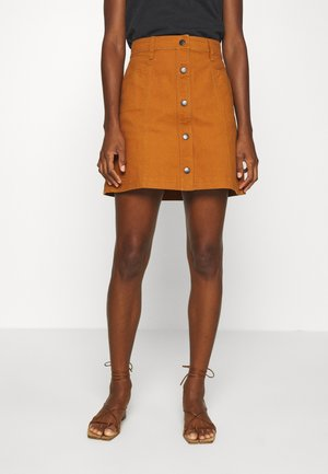 BUTTON FRONT - A-line skirt - burnt sienna